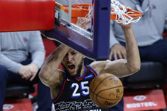 Ben Simmons dunks during a win over the Washington Wizards this week.