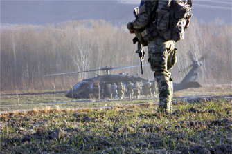 A special forces soldier on the ground in Afghanistan.
