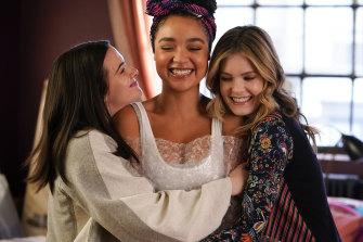 The BFFs: Katie Stevens as Jane Sloan, Aisha Dee as Kat Edison, Meghann Fahy as Sutton Brady.