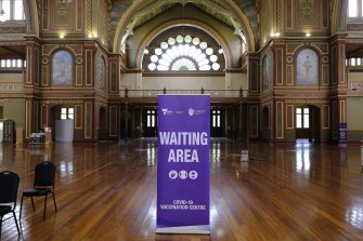 The Royal Exhibition Building has been set up as a mass vaccination area.