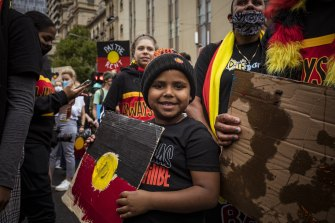 Invasion Day protest in Melbourne in January 2021.