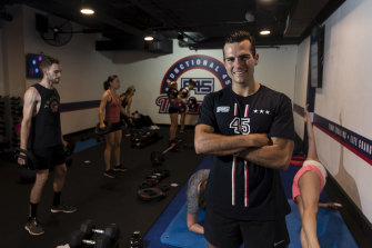 Jordan McCreary at a F45 Gym in Park Street, Sydney, before the pandemic hit.