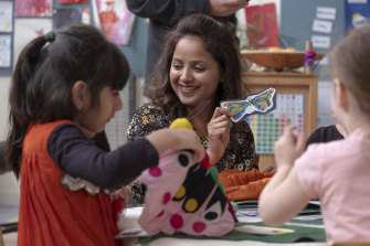 Children at Tarneit Central Kindergarten are constantly exposed to Punjabi through language teachers like Rajni Bala.