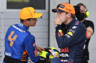 Lando Norris and Max Verstappen will start on the front row in the Austrian Grand Prix.