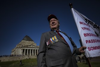 Bobby Harrison, who served in Vietnam, marched alongside thousands in Melbourne on Sunday.