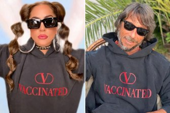 Lady Gaga and Valentino designer Pier Paolo Piccioli wearing their (V) Vaccinated hoodies.