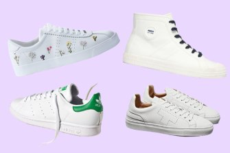 Clockwise from top left: Superga 2869 Club S Flower Bloom Embroidery; Mimco Est. 96 Sneakers;  Taeger Cupsole; Adidas Stan Smith Sustainable.