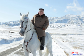 "Kim ""personally"" rode the horse up the mountain, North Korean state media reported."