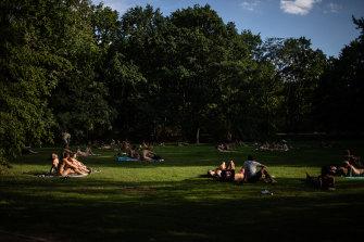 Nudists sunbathe in the Tiergarten, Berlin's most popular inner-city park.