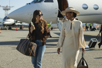 "Dakota Johnson, left, and Tracee Ellis Ross in a scene from ""The High Note.""."