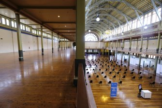 The Royal Exhibition Centre has been transformed into a mass vaccination clinic.