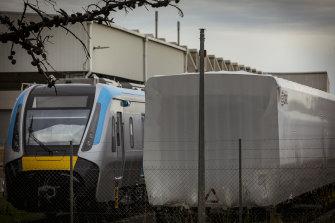 Victoria's new metro trains sitting idle at Downer EDI's Newport facility.