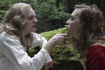 Elisabeth Moss as the (real-life) novelist Shirley Jackson and Odessa Young as the fictional Rose in Shirley.