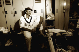 Matthew Hayden relaxes in the afterglow of his 380 against Zimbabwe.