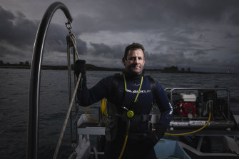 Abalone diver Craig Fox at Port Fairy on Wednesday.