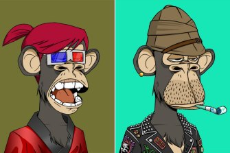 NFTs are commonly associated with digital art, such as these works from the Bored Ape series.