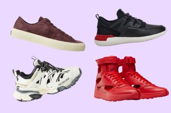 Clockwise from top left: Tom Ford Cambridge; Tod's No_Code; Reebok x Maison Margiela; and Balenciaga Track logo-detailed mesh and rubber sneakers.