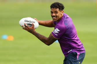 Josh Addo-Carr at Storm's training session in Albury on Wednesday.
