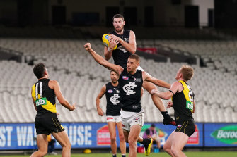 Carlton's Mitch McGovern rises high at the MCG.