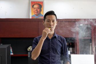 Deng Yang, deputy general manager of vape manufacturer HQD, in Shenzhen.