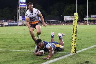 Sivo crosses for one of his three tries on Friday night.