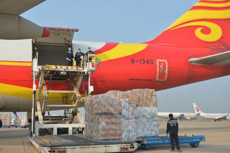A cargo plane carrying 90 tonnes of personal protective equipment and ventilators arrives in Sydney on April 9.