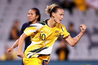 Emily van Egmond scored her first international hat-trick in Australia's six-goal romp against Thailand.