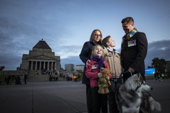 Kyal and Andrea Rode with Lily (10) and Michael (7) at the Anzac Day Dawn Service.