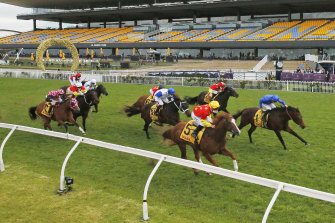 Flying In The Congo on the fence holds off Anamoe fulfilling Gai Waterhouse plan in the Golden Rose