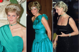 Diana wore this emerald and diamond necklace on several occasions but none more memorably than as a headband in Melbourne in 1985 (centre).