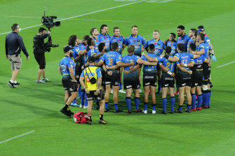 Force players form a huddle after their win over the Reds on Friday night.