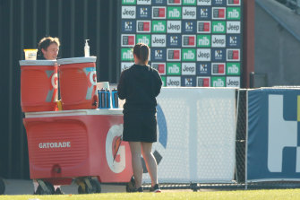 Richmond's hand sanitiser set-up at Monday's training session.