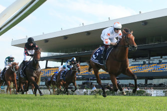Farnan wins race 7 the Longines Golden Slipper during 2020 Golden Slipper Day at Rosehill Gardens.