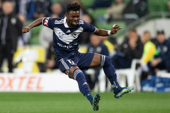 Elvis Kamsoba of the Victory reacts after kicking the ball during the A-League match between Melbourne Victory and Macarthur FC.