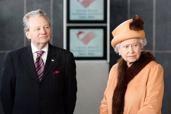 Queen Elizabeth II at the official opening of the new Welsh Assembly Senedd building in Cardiff on March 1, 2006 in Wales.