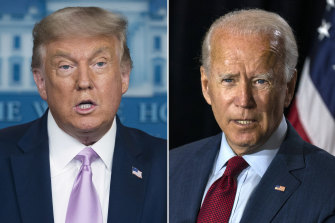 Donald Trump wants to prove he can have a vaccine soon. He faces rival Joe Biden in November.