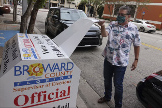 A man votes at Fort Lauderdale, in the battleground state of Florida, on Monday.