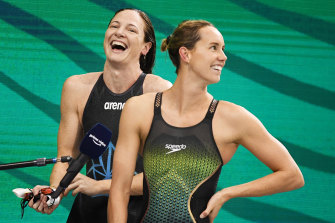 Cate Campbell and Emma McKeon at the national trials in Adelaide last month.