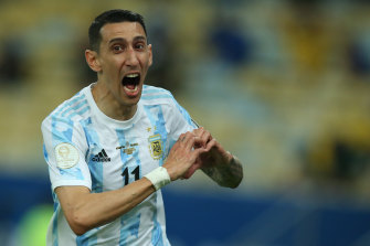 Angel Di Maria celebrates the first-half goal which proved decisive.