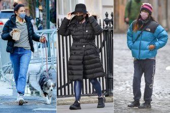From left: Helena Christensen, Rebel Wilson and Jared Leto sporting puffer jackets.