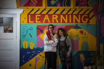 Maria Yebra, right, and Delsi Moleta, left, at the Laneway Learning studio in the Nicholas Building.