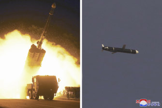 North Korean government photos of long-range cruise missiles tests held on September 11 -12, 2021 in an undisclosed location.