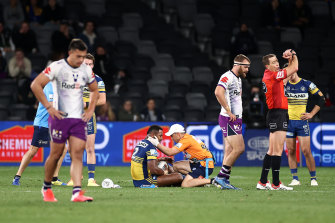 Cooper Johns of the Storm is placed on report for a crusher tackle on Maika Sivo last week.