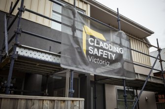 A building on Weston Street, Brunswick East. The Cladding Safety Victoria logo has been used at sites where affected properties are being rectified.