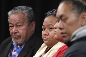 Sio Tuivasa's (from left) father, sister, cousin and partner pleaded for help from the public on Wednesday.