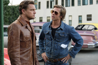 Brad Pitt, right, with Leonardo DiCaprio in Once Upon a Time ... in Hollywood. Pitt plays stuntman Cliff Booth.