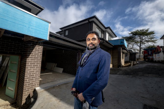 Platinum Developer managing director Ghan Bavadiya in front of one of his construction projects, in Mooroolbark.