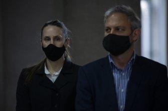 Professor Brett Sutton (right) and acting COVID-19 response commander Naomi Bromley.