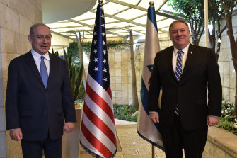 Israeli Prime Minister Benjamin Netanyahu (left) meets with US Secretary of State Mike Pompeo on May 13, 2020, in Jerusalem.