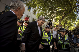 Cardinal Pell leaves the County Court in Melbourne after he was found guilty in December 2018 of sexually assaulting two boys.